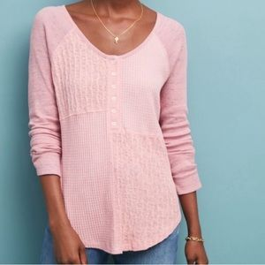Anthropologie | Saturday Sunday pink thermal top